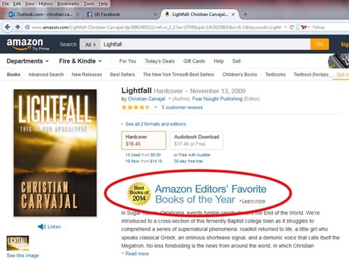 Lightfall's Amazon page, 10 November 2014